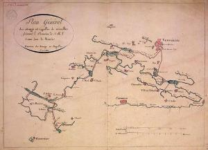Plan des étangs et rigoles de Versailles en 1812, auteur inconnu, domaine public
